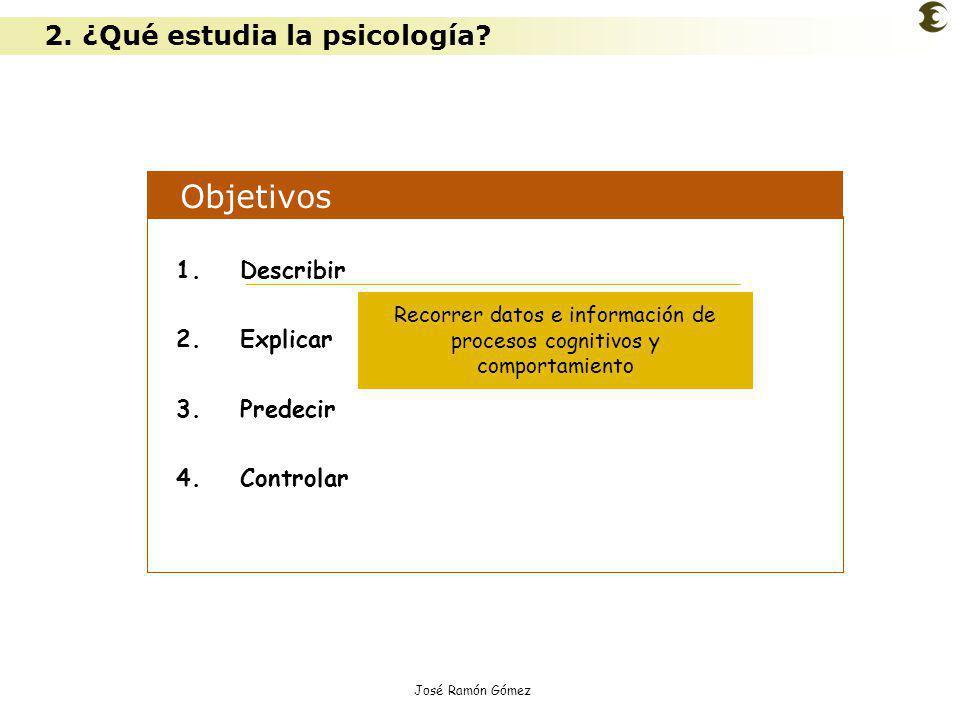 José Ramón Gómez Objetivos 1.Describir 2.Explicar 3.Predecir 4.Controlar Recorrer datos e información de procesos cognitivos y comportamiento 2. ¿Qué