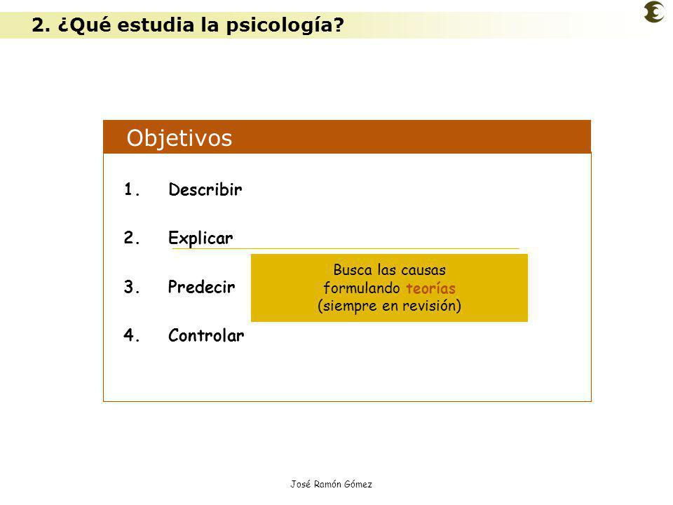 José Ramón Gómez Objetivos 1.Describir 2.Explicar 3.Predecir 4.Controlar Busca las causas formulando teorías (siempre en revisión) 2. ¿Qué estudia la