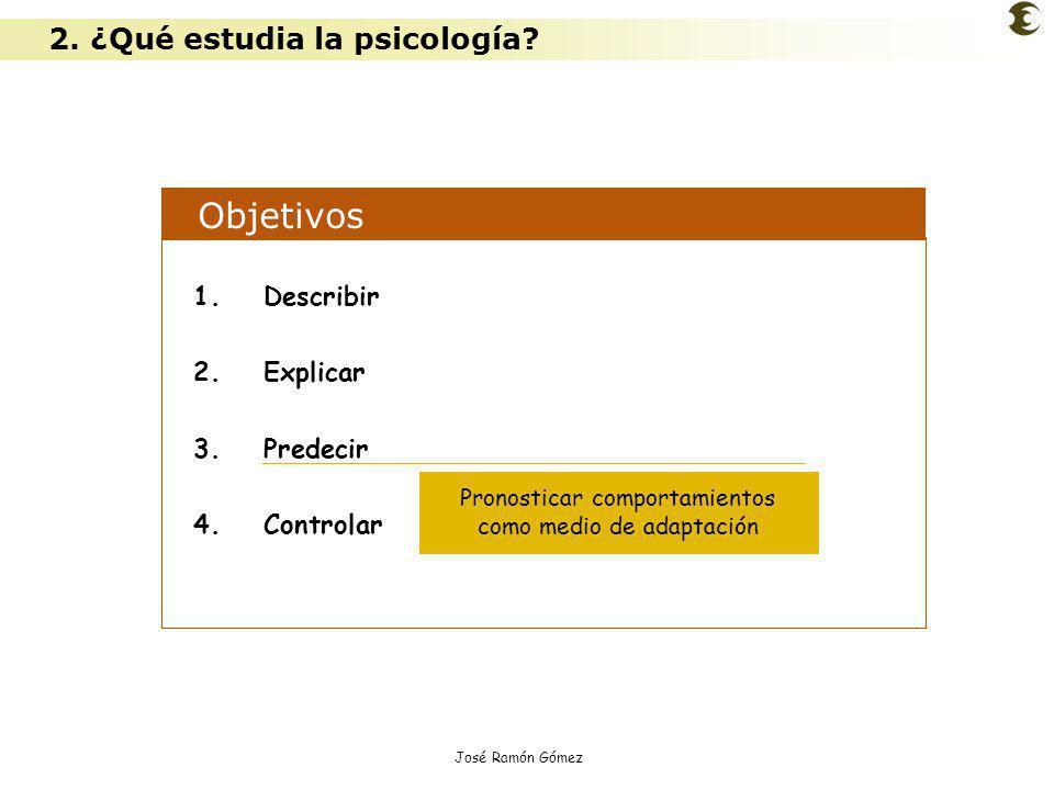 José Ramón Gómez Objetivos 1.Describir 2.Explicar 3.Predecir 4.Controlar Pronosticar comportamientos como medio de adaptación 2. ¿Qué estudia la psico