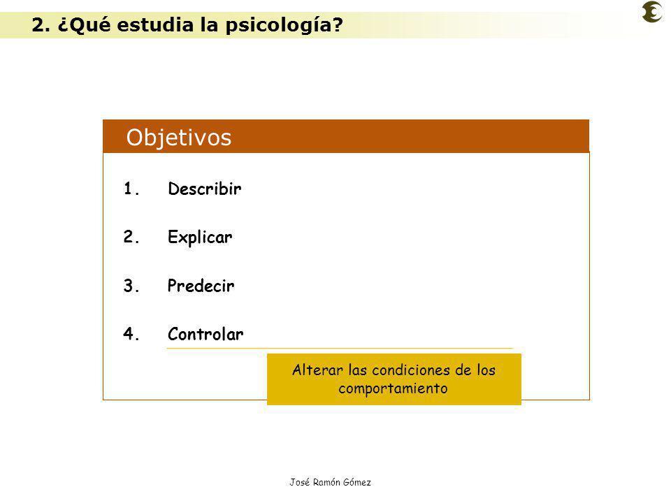 José Ramón Gómez Objetivos 1.Describir 2.Explicar 3.Predecir 4.Controlar Alterar las condiciones de los comportamiento 2. ¿Qué estudia la psicología?