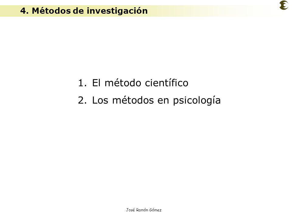 José Ramón Gómez 4. Métodos de investigación 1. El método científico 2. Los métodos en psicología