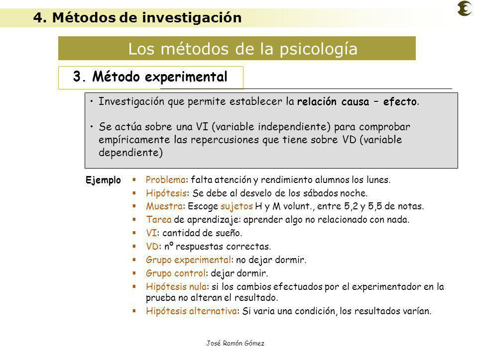 José Ramón Gómez Los métodos de la psicología 3. Método experimental relación causa – efectoInvestigación que permite establecer la relación causa – e