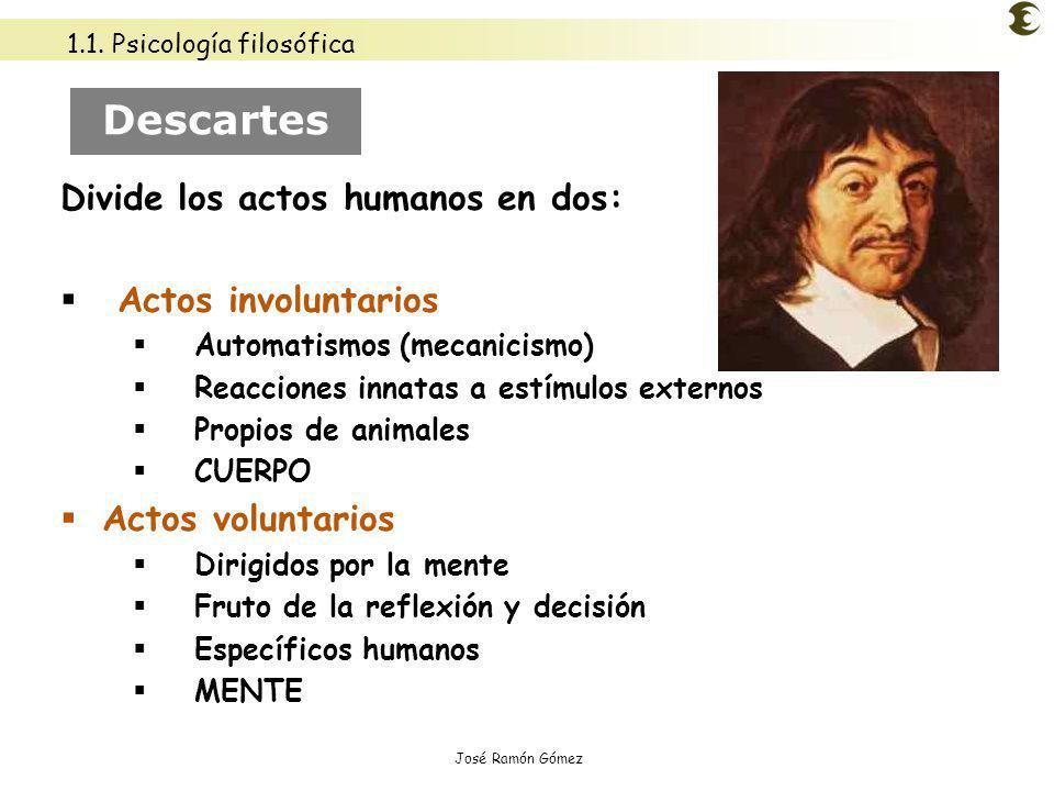 José Ramón Gómez Descartes Divide los actos humanos en dos: Actos involuntarios Automatismos (mecanicismo) Reacciones innatas a estímulos externos Pro