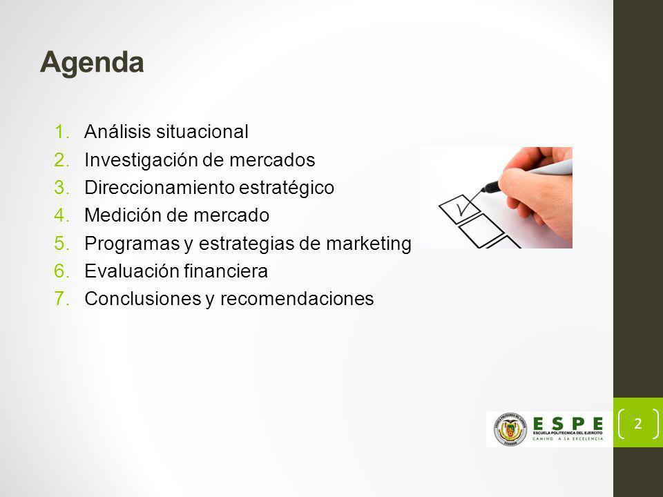 2 Agenda 1.Análisis situacional 2.Investigación de mercados 3.Direccionamiento estratégico 4.Medición de mercado 5.Programas y estrategias de marketing 6.Evaluación financiera 7.Conclusiones y recomendaciones