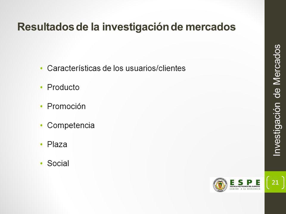 21 Resultados de la investigación de mercados Investigación de Mercados Características de los usuarios/clientes Producto Promoción Competencia Plaza Social