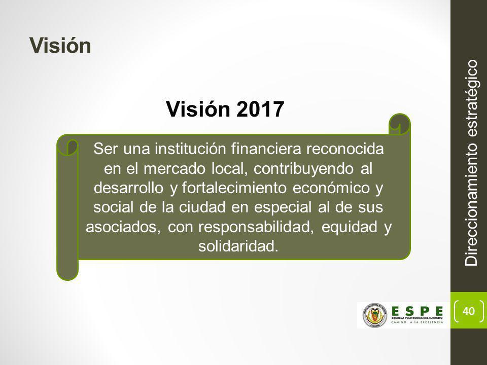 40 Visión Direccionamiento estratégico Ser una institución financiera reconocida en el mercado local, contribuyendo al desarrollo y fortalecimiento económico y social de la ciudad en especial al de sus asociados, con responsabilidad, equidad y solidaridad.