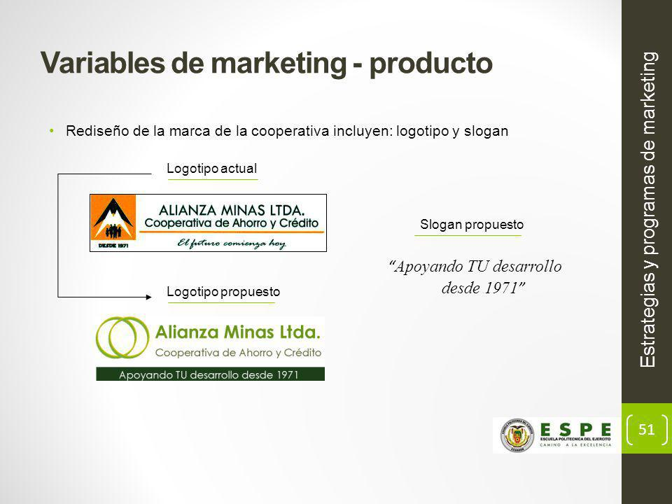 51 Estrategias y programas de marketing Variables de marketing - producto Rediseño de la marca de la cooperativa incluyen: logotipo y slogan Logotipo