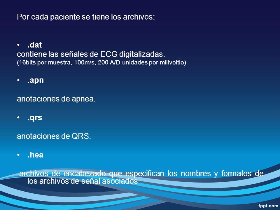 Por cada paciente se tiene los archivos:.dat contiene las señales de ECG digitalizadas. (16bits por muestra, 100m/s, 200 A/D unidades por milivoltio).