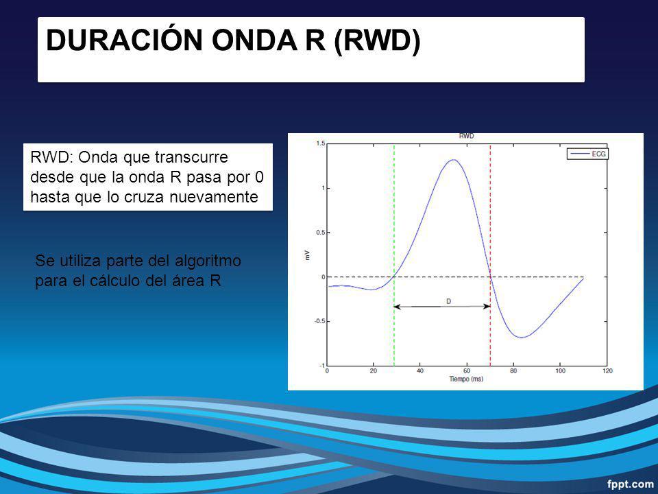 RWD: Onda que transcurre desde que la onda R pasa por 0 hasta que lo cruza nuevamente DURACIÓN ONDA R (RWD) Se utiliza parte del algoritmo para el cál