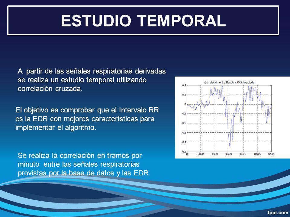 ESTUDIO TEMPORAL A partir de las señales respiratorias derivadas se realiza un estudio temporal utilizando correlación cruzada. El objetivo es comprob