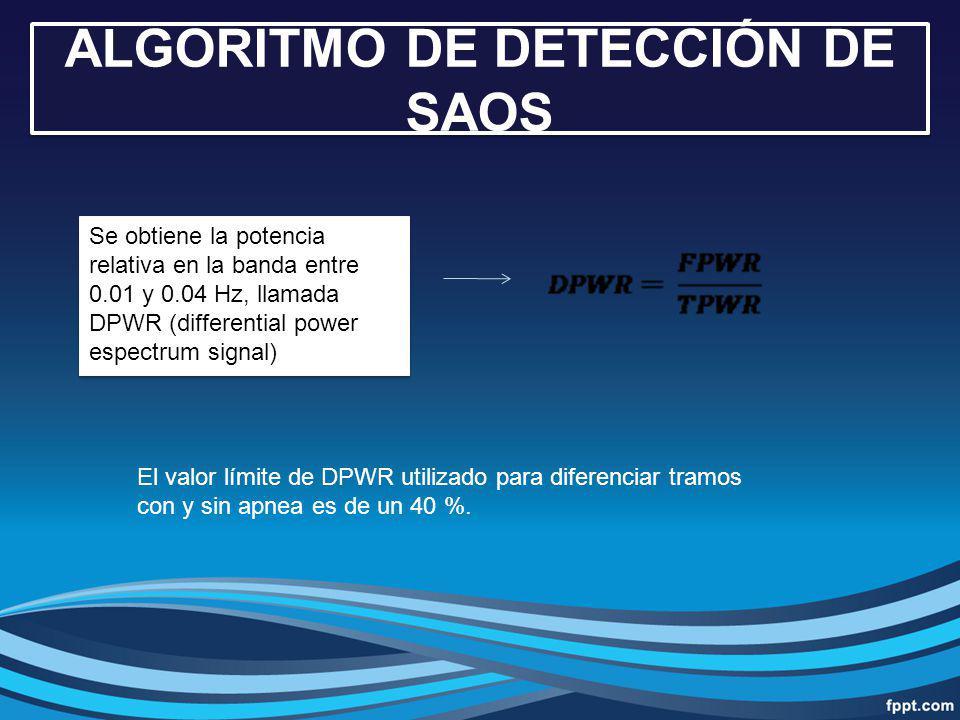 Se obtiene la potencia relativa en la banda entre 0.01 y 0.04 Hz, llamada DPWR (differential power espectrum signal) El valor límite de DPWR utilizado