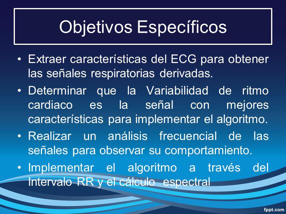 Objetivos Específicos Extraer características del ECG para obtener las señales respiratorias derivadas. Determinar que la Variabilidad de ritmo cardia
