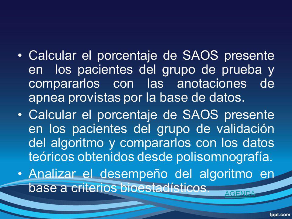 Calcular el porcentaje de SAOS presente en los pacientes del grupo de prueba y compararlos con las anotaciones de apnea provistas por la base de datos