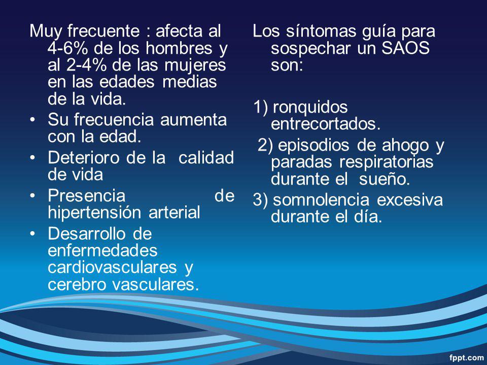 Diagnóstico del SAOS Flujo aéreo: por termistor, neumotacógrafo o analizador de CO2.