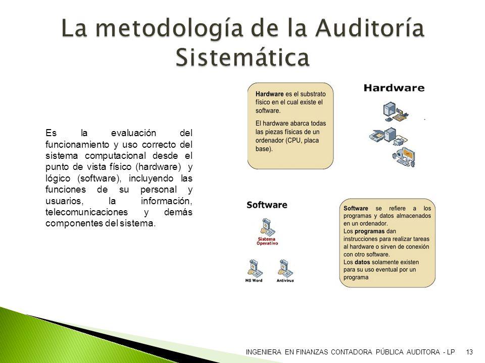 INGENIERA EN FINANZAS CONTADORA PÚBLICA AUDITORA - LP13 Es la evaluación del funcionamiento y uso correcto del sistema computacional desde el punto de