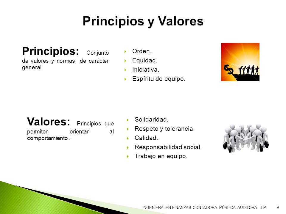 9 Principios: Conjunto de valores y normas de carácter general. Orden. Equidad. Iniciativa. Espíritu de equipo. Valores: Principios que permiten orien