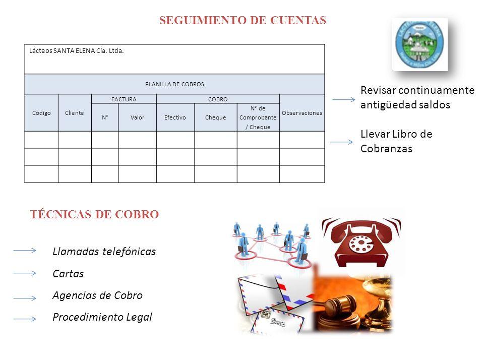 SEGUIMIENTO DE CUENTAS Lácteos SANTA ELENA Cía.Ltda.