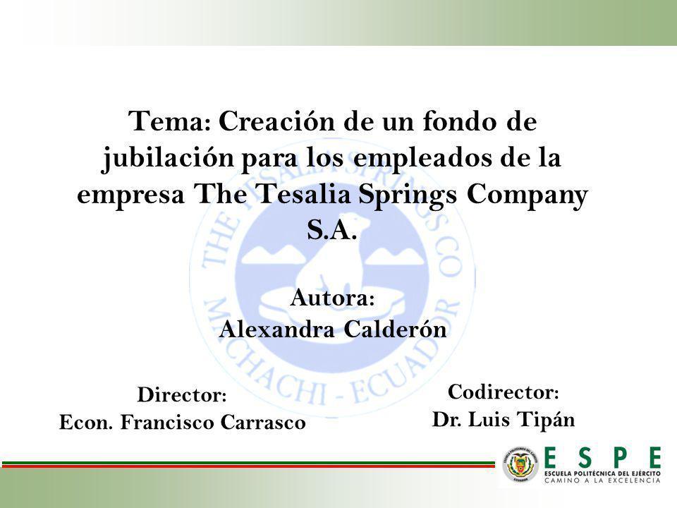 Tema: Creación de un fondo de jubilación para los empleados de la empresa The Tesalia Springs Company S.A. Codirector: Dr. Luis Tipán Autora: Alexandr