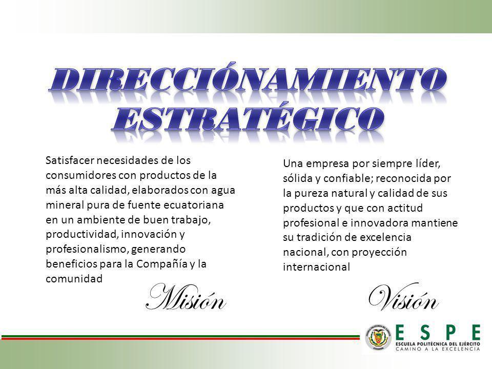 MisiónVisión Satisfacer necesidades de los consumidores con productos de la más alta calidad, elaborados con agua mineral pura de fuente ecuatoriana e
