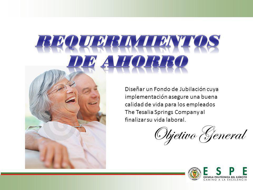 Diseñar un Fondo de Jubilación cuya implementación asegure una buena calidad de vida para los empleados The Tesalia Springs Company al finalizar su vi