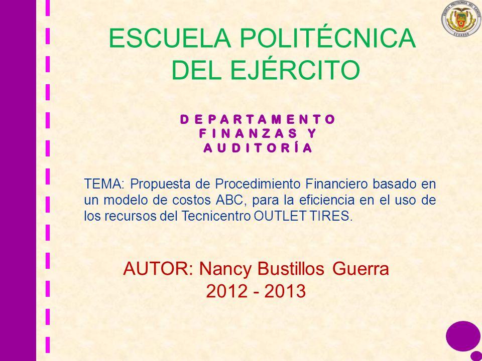 ESCUELA POLITÉCNICA DEL EJÉRCITO TEMA: Propuesta de Procedimiento Financiero basado en un modelo de costos ABC, para la eficiencia en el uso de los re