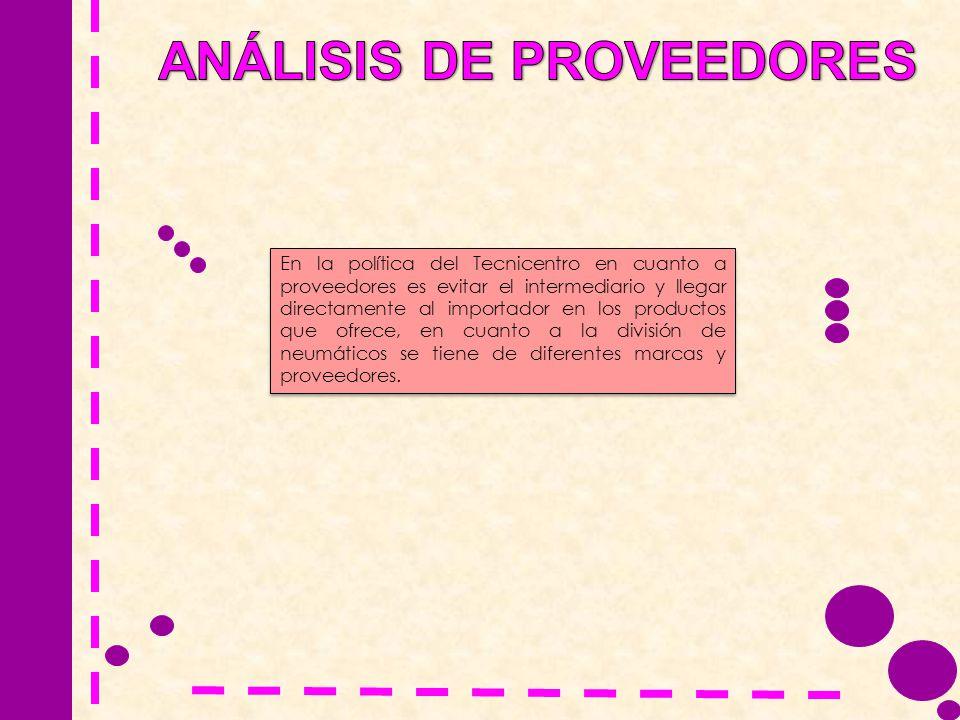 En la política del Tecnicentro en cuanto a proveedores es evitar el intermediario y llegar directamente al importador en los productos que ofrece, en