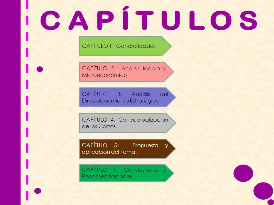 CAPÍTULO 1: Generalidades CAPÍTULO 2 : Análisis Macro y Microeconómico CAPÍTULO 3: Análisis del Direccionamiento Estratégico CAPÍTULO 4: Conceptualiza