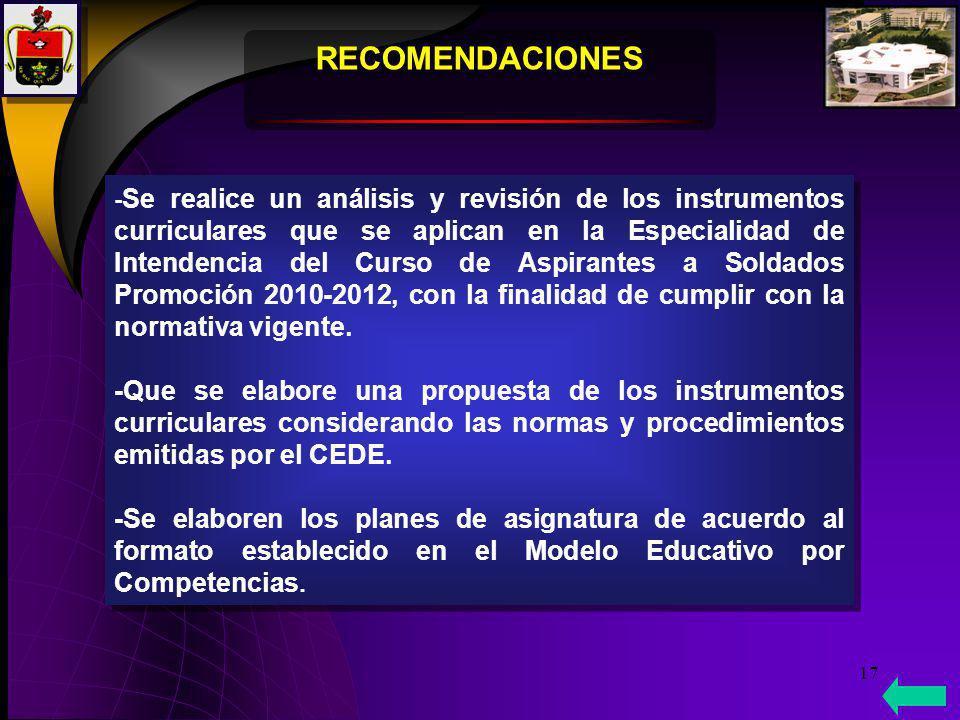 17 RECOMENDACIONES - Se realice un análisis y revisión de los instrumentos curriculares que se aplican en la Especialidad de Intendencia del Curso de