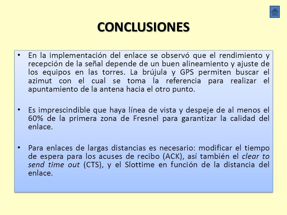 CONCLUSIONES Al realizar las simulaciones en el software ns-3 en las distintas tasas de transmisión que define el estándar IEEE 802.11g en enlaces de