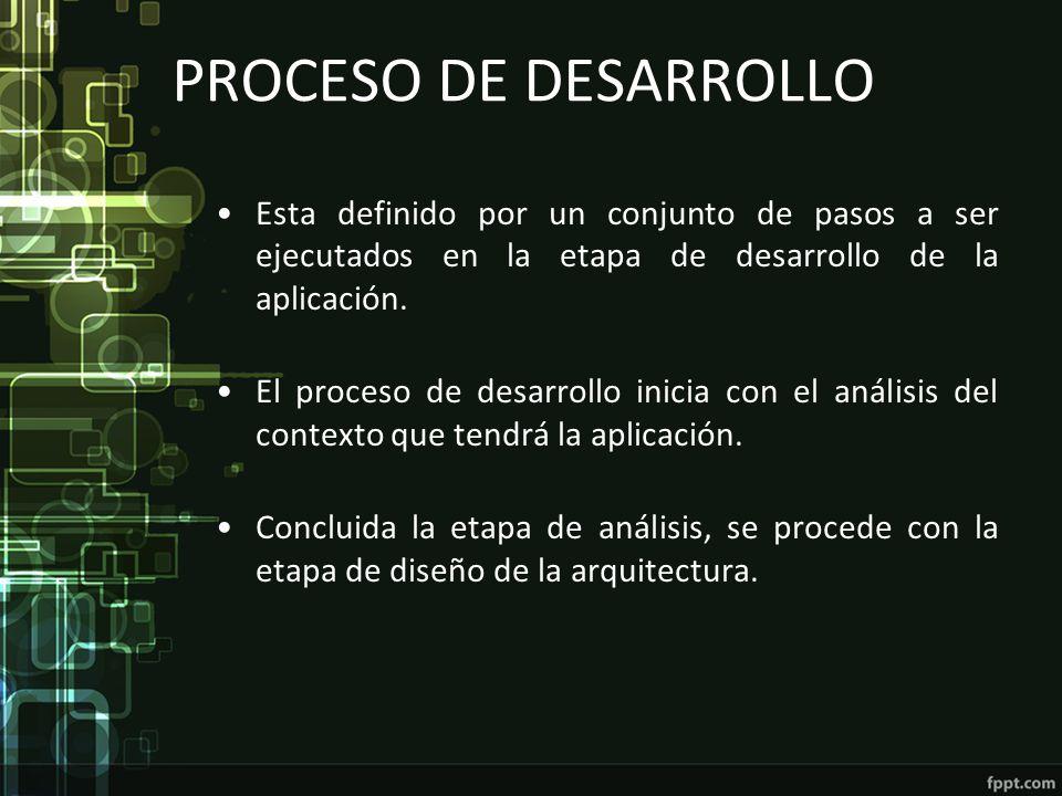 PROCESO DE DESARROLLO Esta definido por un conjunto de pasos a ser ejecutados en la etapa de desarrollo de la aplicación. El proceso de desarrollo ini