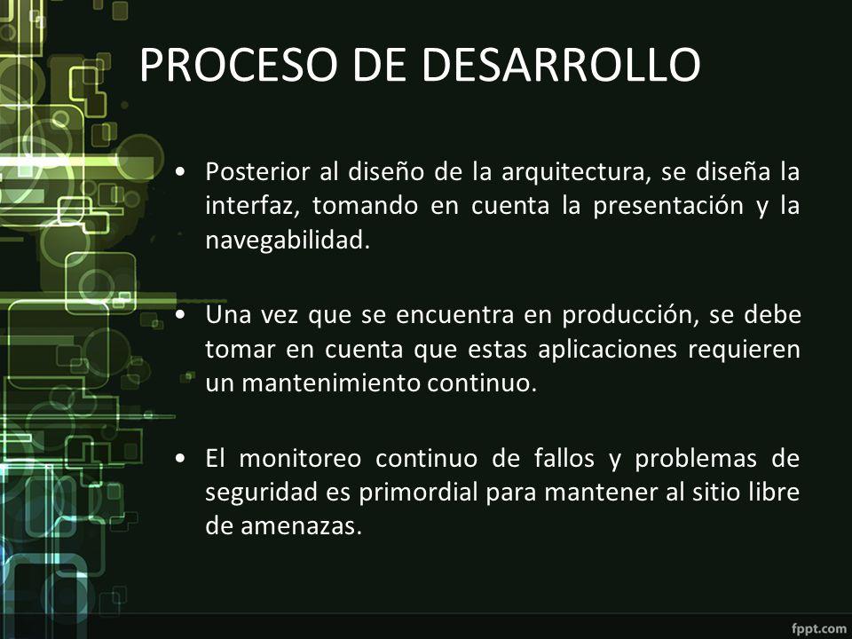 PROCESO DE DESARROLLO Posterior al diseño de la arquitectura, se diseña la interfaz, tomando en cuenta la presentación y la navegabilidad. Una vez que