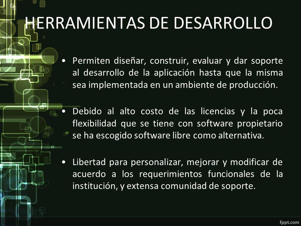 HERRAMIENTAS DE DESARROLLO Permiten diseñar, construir, evaluar y dar soporte al desarrollo de la aplicación hasta que la misma sea implementada en un