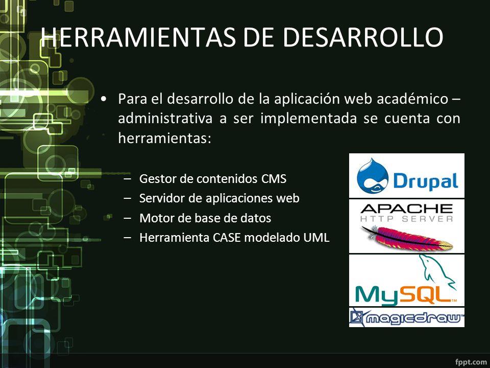 HERRAMIENTAS DE DESARROLLO Para el desarrollo de la aplicación web académico – administrativa a ser implementada se cuenta con herramientas: –Gestor d