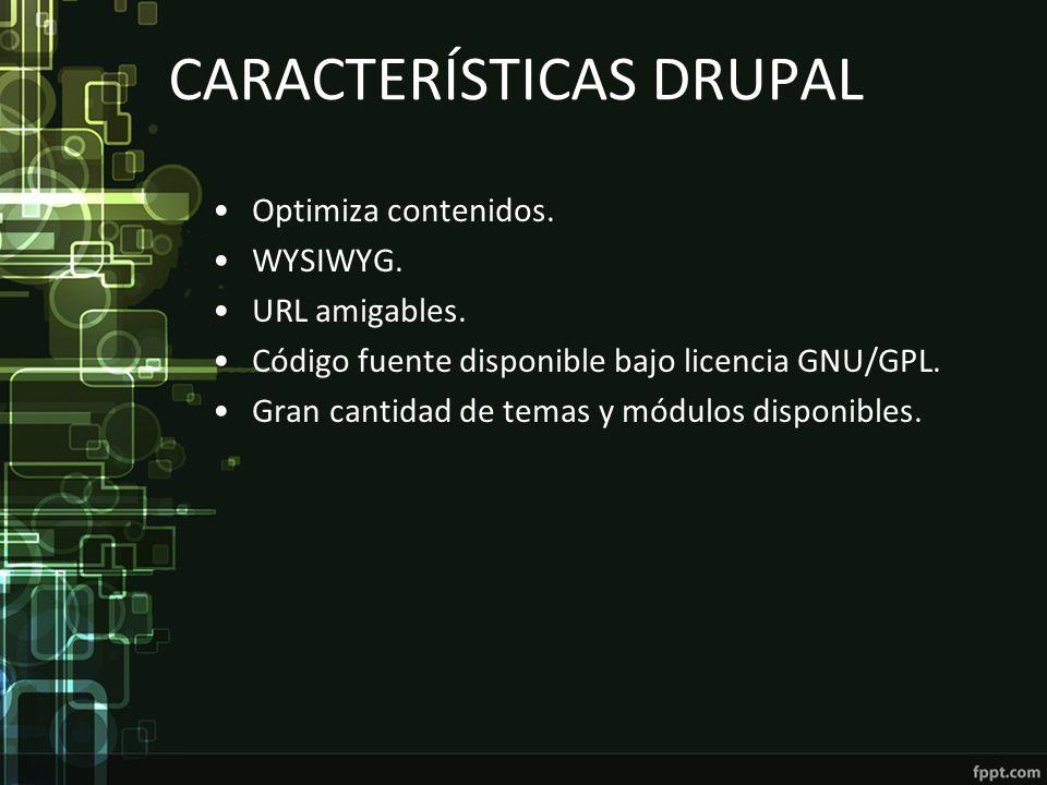 CARACTERÍSTICAS DRUPAL Optimiza contenidos. WYSIWYG. URL amigables. Código fuente disponible bajo licencia GNU/GPL. Gran cantidad de temas y módulos d