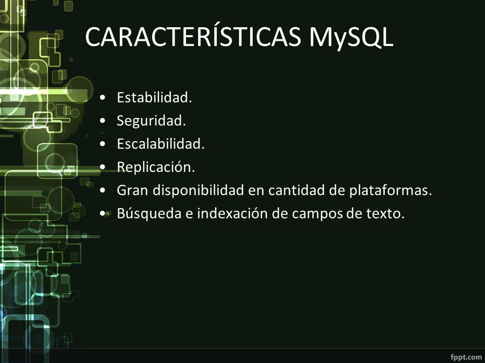 CARACTERÍSTICAS MySQL Estabilidad. Seguridad. Escalabilidad. Replicación. Gran disponibilidad en cantidad de plataformas. Búsqueda e indexación de cam