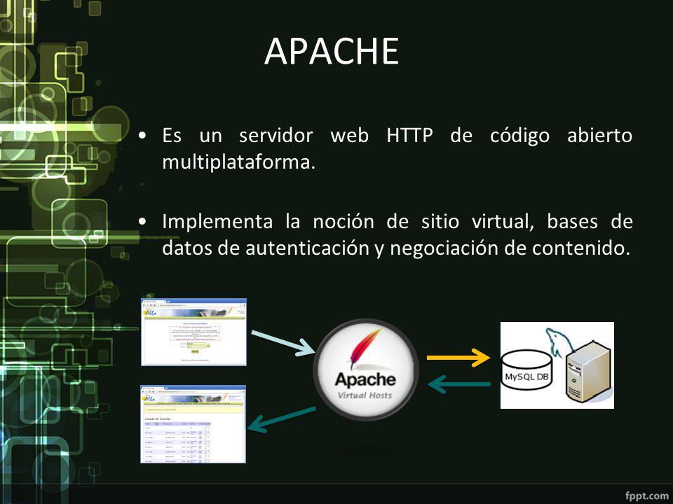 APACHE Es un servidor web HTTP de código abierto multiplataforma. Implementa la noción de sitio virtual, bases de datos de autenticación y negociación