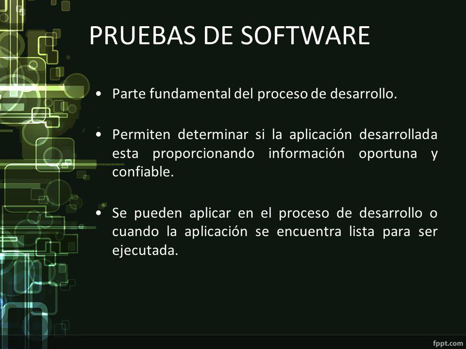 PRUEBAS DE SOFTWARE Parte fundamental del proceso de desarrollo. Permiten determinar si la aplicación desarrollada esta proporcionando información opo