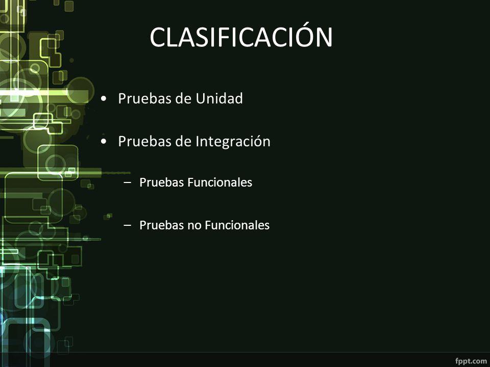CLASIFICACIÓN Pruebas de Unidad Pruebas de Integración –Pruebas Funcionales –Pruebas no Funcionales