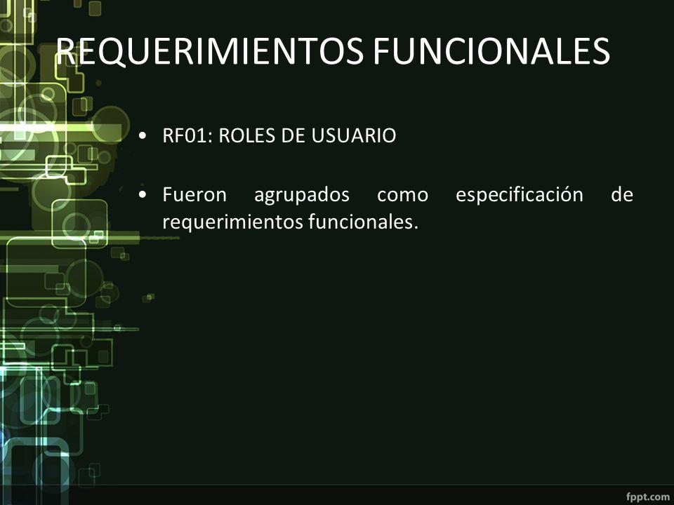 REQUERIMIENTOS FUNCIONALES RF01: ROLES DE USUARIO Fueron agrupados como especificación de requerimientos funcionales.