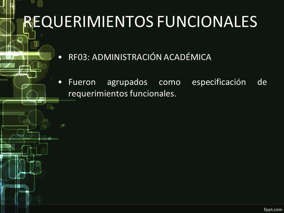 REQUERIMIENTOS FUNCIONALES RF03: ADMINISTRACIÓN ACADÉMICA Fueron agrupados como especificación de requerimientos funcionales.
