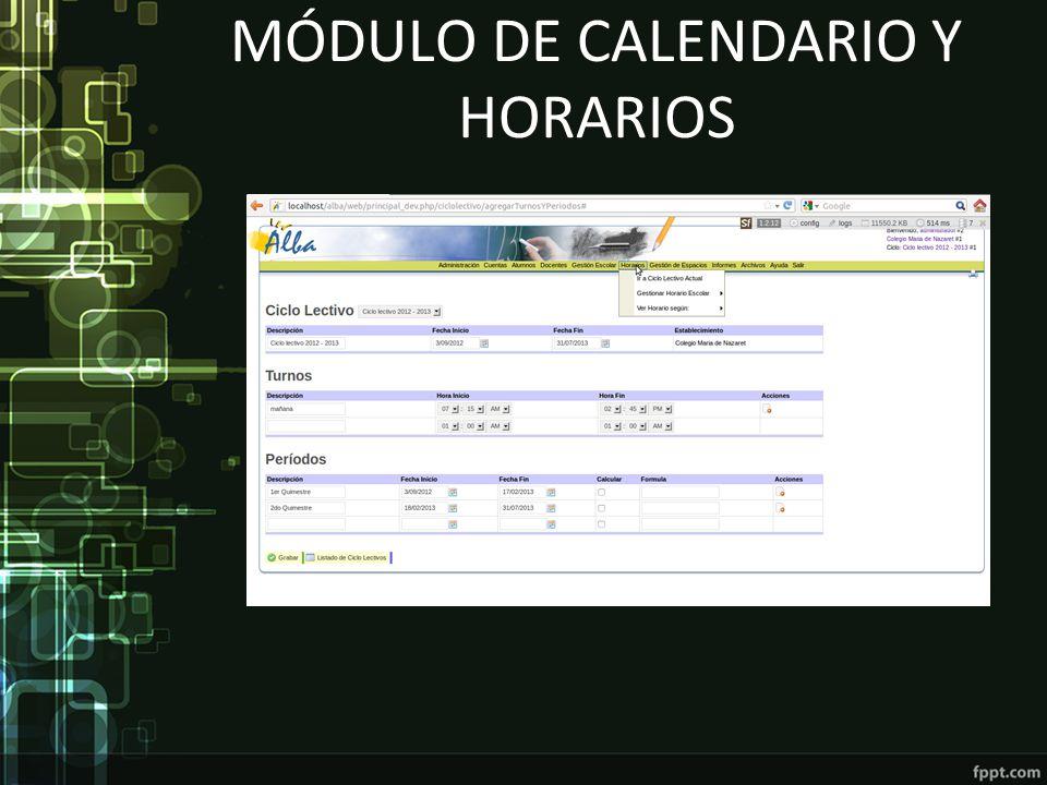 MÓDULO DE CALENDARIO Y HORARIOS