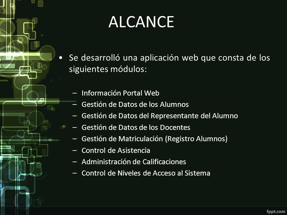 ALCANCE Se desarrolló una aplicación web que consta de los siguientes módulos: –Información Portal Web –Gestión de Datos de los Alumnos –Gestión de Da