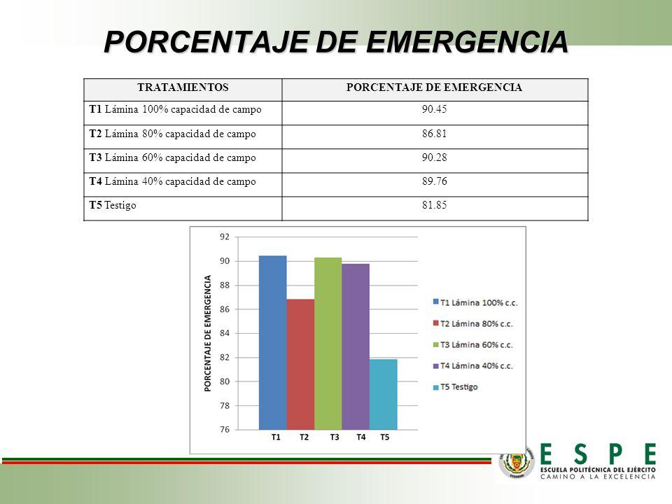 PORCENTAJE DE EMERGENCIA TRATAMIENTOSPORCENTAJE DE EMERGENCIA T1 Lámina 100% capacidad de campo90.45 T2 Lámina 80% capacidad de campo86.81 T3 Lámina 6