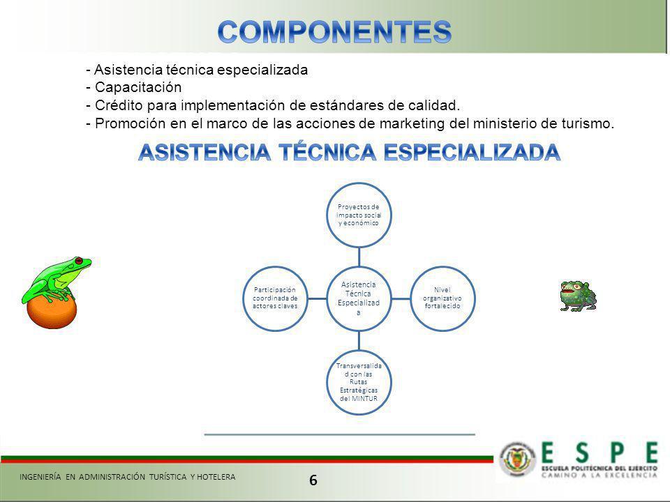 6 INGENIERÍA EN ADMINISTRACIÓN TURÍSTICA Y HOTELERA - Asistencia técnica especializada - Capacitación - Crédito para implementación de estándares de calidad.