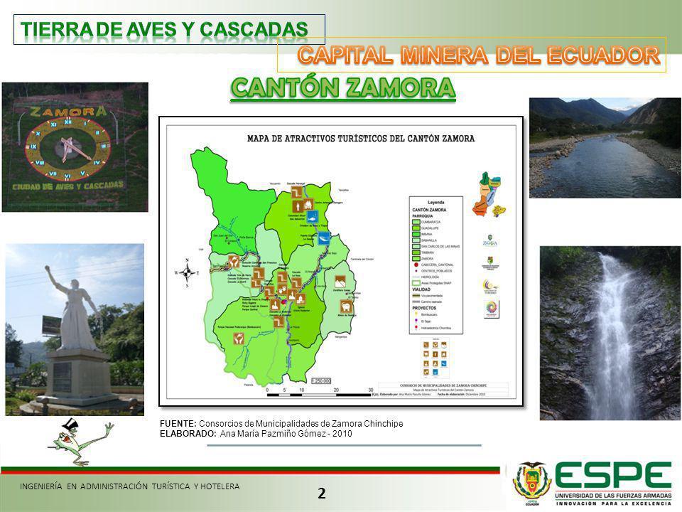 2 FUENTE: Consorcios de Municipalidades de Zamora Chinchipe ELABORADO: Ana María Pazmiño Gómez - 2010 INGENIERÍA EN ADMINISTRACIÓN TURÍSTICA Y HOTELER