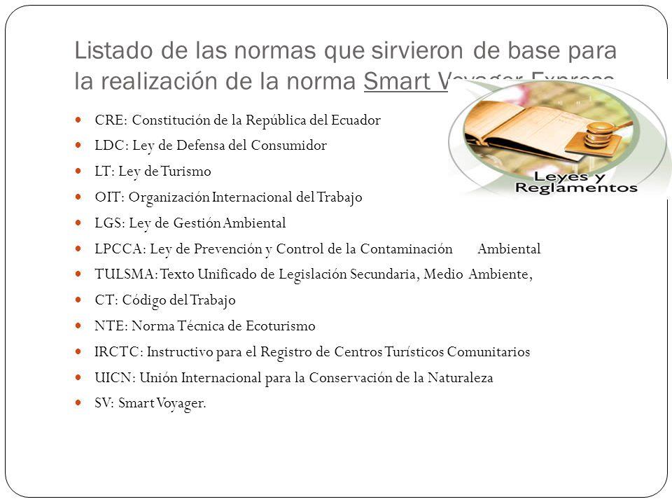 Listado de las normas que sirvieron de base para la realización de la norma Smart Voyager Express CRE: Constitución de la República del Ecuador LDC: L