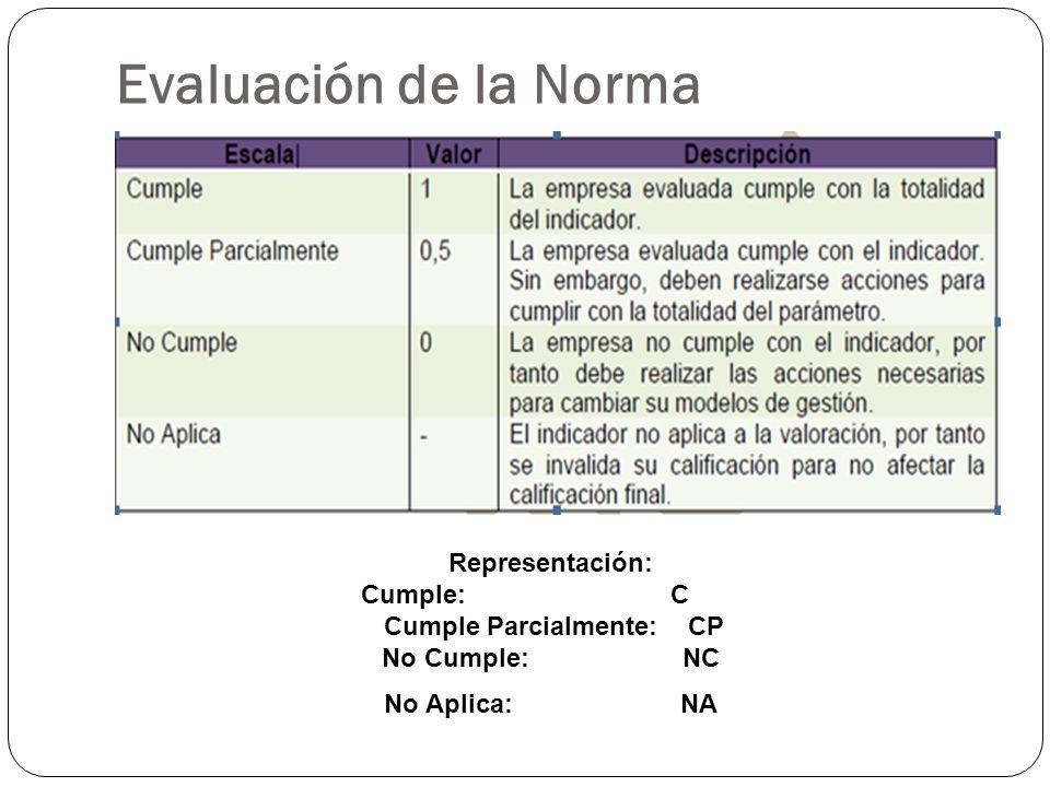 Evaluación de la Norma Representación: Cumple: C Cumple Parcialmente: CP No Cumple: NC No Aplica: NA