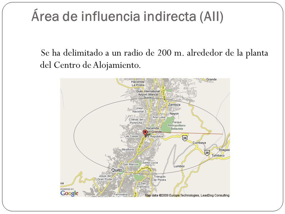 Área de influencia indirecta (AII) Se ha delimitado a un radio de 200 m. alrededor de la planta del Centro de Alojamiento.