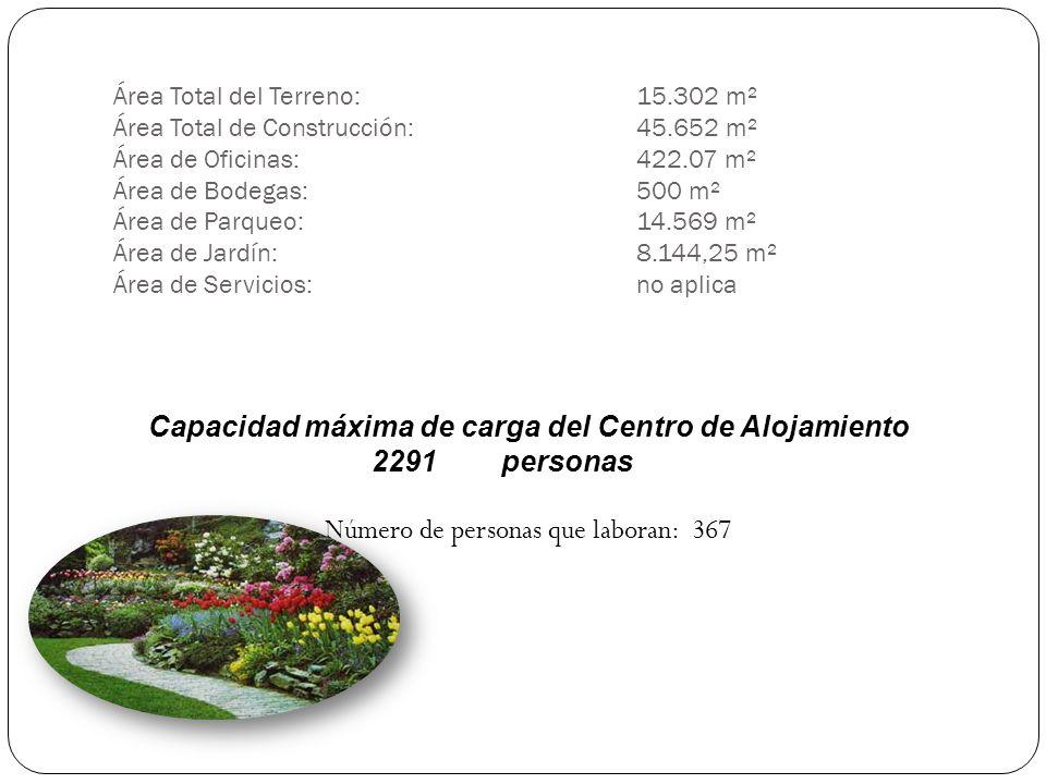 Área Total del Terreno: 15.302 m² Área Total de Construcción: 45.652 m² Área de Oficinas: 422.07 m² Área de Bodegas:500 m² Área de Parqueo: 14.569 m²