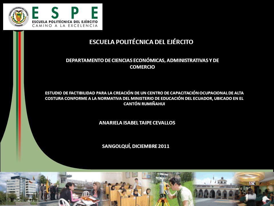 ESCUELA POLITÉCNICA DEL EJÉRCITO DEPARTAMENTO DE CIENCIAS ECONÓMICAS, ADMINISTRATIVAS Y DE COMERCIO ESTUDIO DE FACTIBILIDAD PARA LA CREACIÓN DE UN CEN